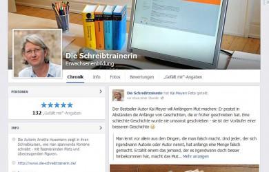 Die Schreibtrainerin ist nun auch auf Facebook zu finden