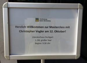 Master Class in Stuttgart mit Christopher Vogler, der uns zeigt, wie man richtig gute Geschichten findet.