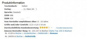 Die Amazon-Produktinformationen eines Kinderbuchs aus einem deutschen Verlag.