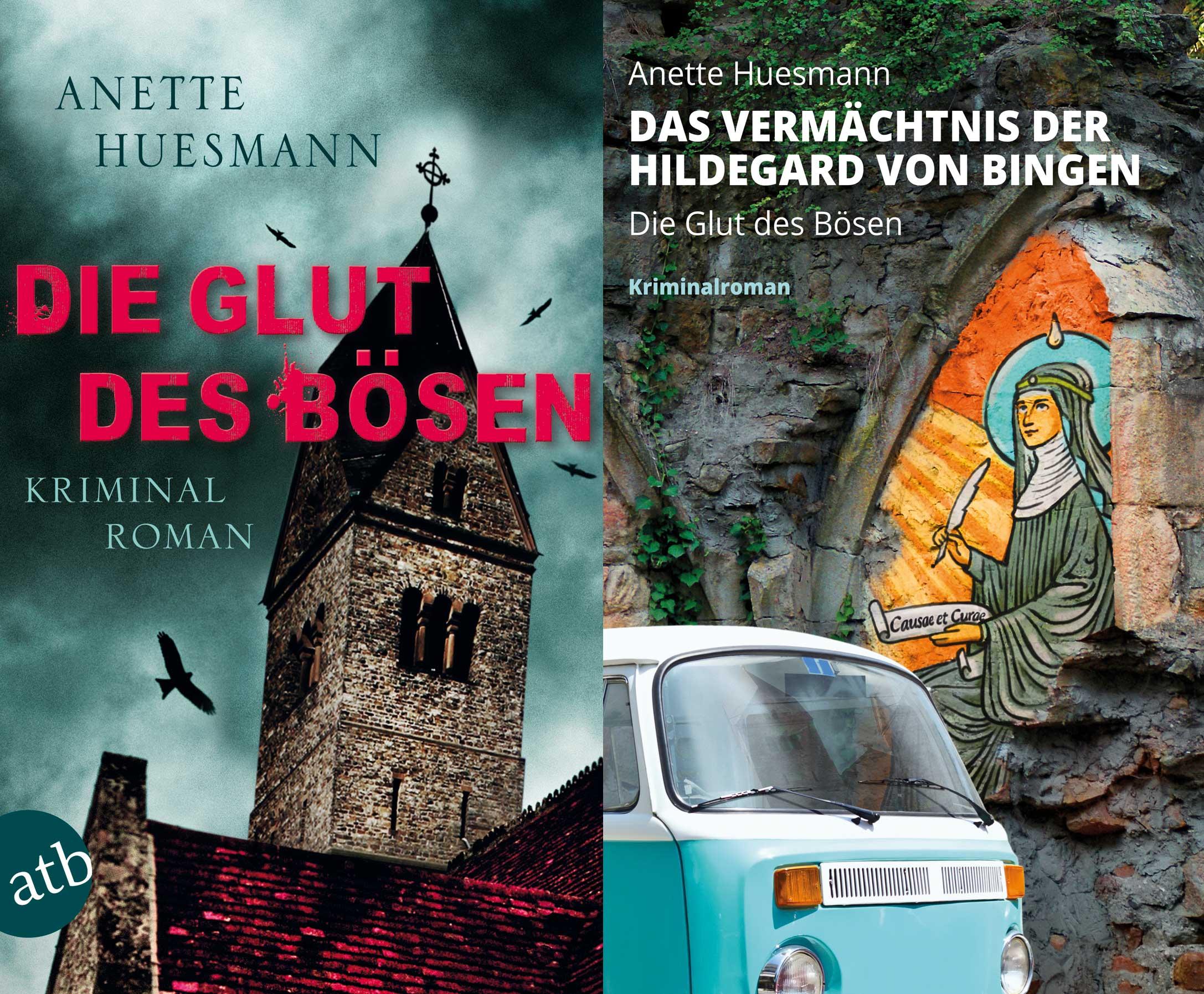 """Das alte Cover des Krimis """"Das Vermächtnis der Hildegard von Bingen"""" im Vergleich zum neuen Cover"""